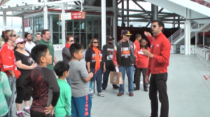 Tour Guide at Levi Stadium using a VoiceBooster personal voice amplifier.